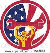 Vector Clip Art of Retro Male Mechanic Holding up a Giant Wrench in an American Flag Circle by Patrimonio