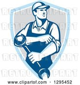 Vector Clip Art of Retro Male Mechanic Rolling up His Sleeves and Holding a Wrench in a Blue White and Gray Shield by Patrimonio