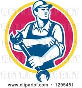 Vector Clip Art of Retro Male Mechanic Rolling up His Sleeves and Holding a Wrench in a Yellow White and Pink Circle by Patrimonio