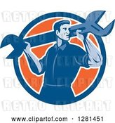 Vector Clip Art of Retro Male Mechanic with a Giant Wrench on His Shoulders in a Blue White and Orange Circle by Patrimonio