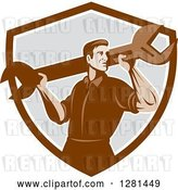 Vector Clip Art of Retro Male Mechanic with a Giant Wrench on His Shoulders in a Brown White and Gray Shield by Patrimonio