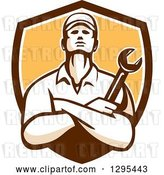 Vector Clip Art of Retro Male Mechanic with Folded Arms, Holding a Wrench in a Brown White and Yellow Shield by Patrimonio