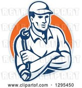 Vector Clip Art of Retro Male Mechanic with Folded Arms, Holding a Wrench in a Gray and Orange Circle by Patrimonio