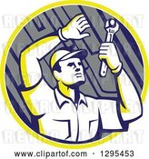 Vector Clip Art of Retro Male Mechanic Working Uner a Car Chassis in a Yellow White and Gray Circle by Patrimonio