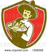 Vector Clip Art of Retro Male Mexican Chef Wearing a Sombrero and Holding a Tray of Tacos, Burritos and Empanadas in a Green White and Red Shield by Patrimonio