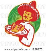 Vector Clip Art of Retro Male Mexican Chef Wearing a Sombrero and Holding a Tray of Tacos, Burritos and Empanadas over a Circle of Rays by Patrimonio