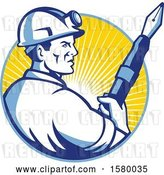 Vector Clip Art of Retro Male Miner Holding a Giant Fountain Pen in a Sunset Circle by Patrimonio