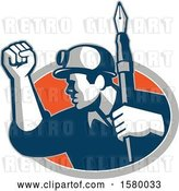 Vector Clip Art of Retro Male Miner Holding up a Fountain Pen and a Fist and Emerging from an Oval by Patrimonio