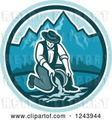 Vector Clip Art of Retro Male Miner Panning for Gold in a Mountainous River by Patrimonio