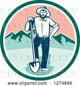 Vector Clip Art of Retro Male Miner Prospector Resting a Foot on a Shovel in a Green White and Pink Circle by Patrimonio
