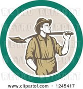 Vector Clip Art of Retro Male Miner with a Shovel over His Shoulder in a Circle by Patrimonio
