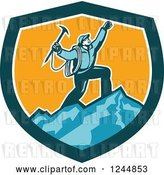 Vector Clip Art of Retro Male Mountain Climber Cheering on a Summit in a Shield by Patrimonio