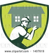 Vector Clip Art of Retro Male Mover Carrying a House in a Green Shield by Patrimonio
