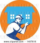 Vector Clip Art of Retro Male Mover Carrying a House in an Orange and Blue Circle by Patrimonio