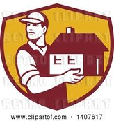 Vector Clip Art of Retro Male Mover Holding a House in a Maroon and Yellow Shield by Patrimonio