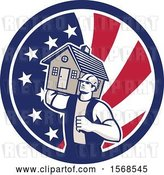 Vector Clip Art of Retro Male Mover Holding a House in an American Flag Circle by Patrimonio