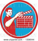Vector Clip Art of Retro Male Movie Director Holding up a Clapperboard in a Red White and Blue Circle by Patrimonio