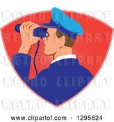 Vector Clip Art of Retro Male Navy Captiain Viewing Through Binoculars in a Red Ray Shield by Patrimonio