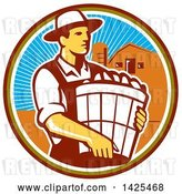 Vector Clip Art of Retro Male Organic Farmer Carrying a Bushel of Harvest Produce, in a Circle Against a Barn and Silo by Patrimonio