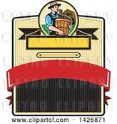 Vector Clip Art of Retro Male Organic Farmer Carrying a Bushel of Harvest Produce, in a Circle Against a Barn and Silo over a Badge by Patrimonio