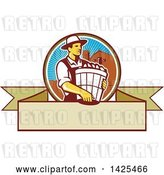 Vector Clip Art of Retro Male Organic Farmer Carrying a Bushel of Harvest Produce, in a Circle Against a Barn and Silo, over a Blank Ribbon Banner by Patrimonio