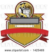 Vector Clip Art of Retro Male Organic Farmer Carrying a Bushel of Harvest Produce, in a Circle Against a Barn and Silo over a Crest by Patrimonio