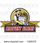 Vector Clip Art of Retro Male Organic Farmer Carrying a Bushel of Produce, in a Circle Against a Barn and Silo, over a Harvest Farms Ribbon Banner by Patrimonio