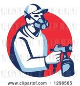 Vector Clip Art of Retro Male Painter Using a Spray Gun and Emerging from a Red Circle by Patrimonio