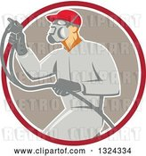 Vector Clip Art of Retro Male Painter Using a Spray Gun and Emerging from a Red White and Taupe Circle by Patrimonio