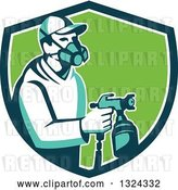 Vector Clip Art of Retro Male Painter Using a Spray Gun in a Blue White and Green Shield by Patrimonio