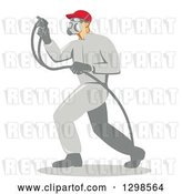 Vector Clip Art of Retro Male Painter Using a Spray Gun in Profile by Patrimonio