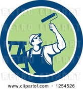 Vector Clip Art of Retro Male Painter with a Ladder and Roller Brush in a Blue and Orange Circle by Patrimonio