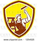 Vector Clip Art of Retro Male Painter with a Ladder and Roller Brush in a Brown and Yellow Shield by Patrimonio