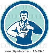 Vector Clip Art of Retro Male Pharmacist with a Mortar and Pestle in a Circle by Patrimonio