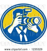Vector Clip Art of Retro Male Photographer in a Blue and Yellow Oval by Patrimonio
