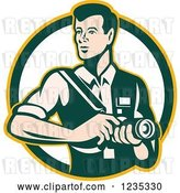 Vector Clip Art of Retro Male Photographer in a Circle by Patrimonio