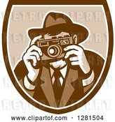 Vector Clip Art of Retro Male Photographer or Detective Taking Pictures in a Brown and White Shield by Patrimonio