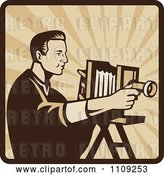 Vector Clip Art of Retro Male Photographer Shooting with an Antique Bellows Camera on a Square of Rays by Patrimonio