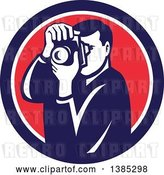 Vector Clip Art of Retro Male Photographer Taking Pictures in a Blue White and Red Circle by Patrimonio