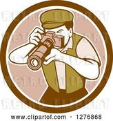 Vector Clip Art of Retro Male Photographer Taking Pictures in a Brown and White Circle by Patrimonio