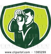 Vector Clip Art of Retro Male Photographer Taking Pictures in a Green and White Shield by Patrimonio
