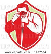 Vector Clip Art of Retro Male Photographer Taking Pictures in a Red White and Green Shield by Patrimonio