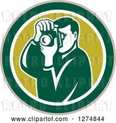 Vector Clip Art of Retro Male Photographer Taking Pictures in a Taupe Green and White Circle by Patrimonio