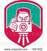 Vector Clip Art of Retro Male Photographer Taking Pictures on a Tripod in a Pink White and Turquoise Shield by Patrimonio