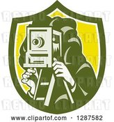Vector Clip Art of Retro Male Photographer Using a Box Camera in a Green White and Yellow Shield by Patrimonio