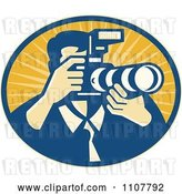 Vector Clip Art of Retro Male Photographer Using a DSLR Zoom Lense Camera in an Oval of Rays by Patrimonio