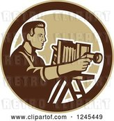 Vector Clip Art of Retro Male Photographer with a Bellows Camera in a Circle by Patrimonio