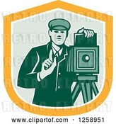Vector Clip Art of Retro Male Photographer with a Bellows Camera in a Yellow White and Green Shield by Patrimonio