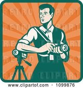 Vector Clip Art of Retro Male Photographer with a Dslr Camera and Video Camera by Patrimonio