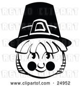 Vector Clip Art of Retro Male Pilgrim in a Black Hat, Smiling by Andy Nortnik
